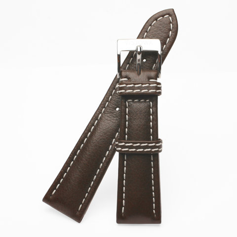 Brown strap with cream color stitching