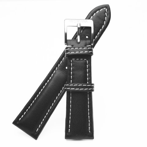 Black strap with white stitching